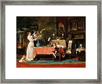 Getting Ready For Daddy's Birthday Framed Print by Mihaly Munkacsy