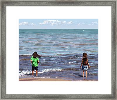 Framed Print featuring the painting Getting Their Feet Wet by Shawna Rowe