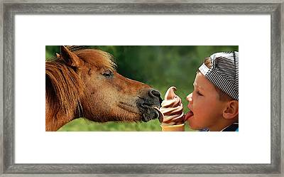 Pals - Getting Their Licks In Framed Print