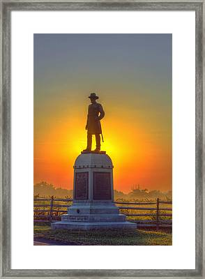 Gettysburg 13th Vermont Infantry Morning Sunrise Framed Print by Randy Steele