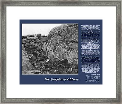 Gettysburg Address Civil War Devils Den Framed Print by Randy Steele