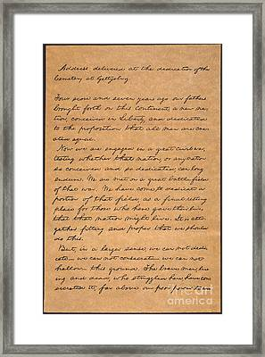 Gettysburg Address Framed Print by Granger