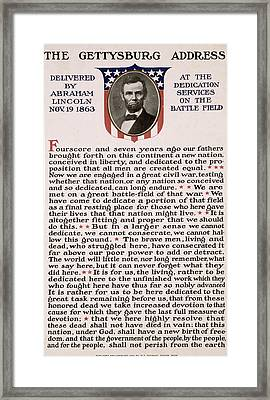 Framed Print featuring the photograph Gettysburg Address by International  Images