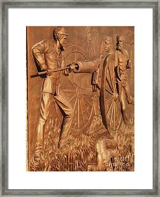Gettysburg Bronze Relief Framed Print by Eric  Schiabor