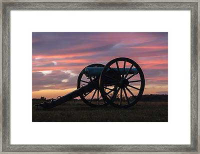Gettysburg - Cannon On Cemetery Ridge At First Light Framed Print