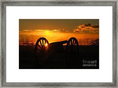 Gettysburg Cannon Sunset Framed Print by Randy Steele