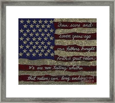 Gettysburg Homage Flag Framed Print