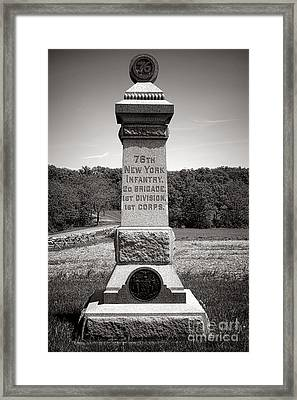 Gettysburg National Park 76th New York Infantry Monument Framed Print by Olivier Le Queinec
