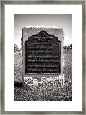 Gettysburg National Park Army Of The Potomac Third Division Monument Framed Print