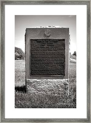 Gettysburg National Park Army Of The Potomac First Division Monument Framed Print