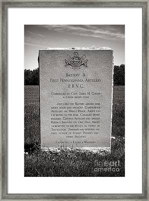 Gettysburg National Park First Pennsylvania Artillery Monument Framed Print