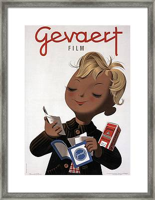 Gevaert Film - Little Boy With Photofilm - Vintage Belgian Advertising Poster Framed Print