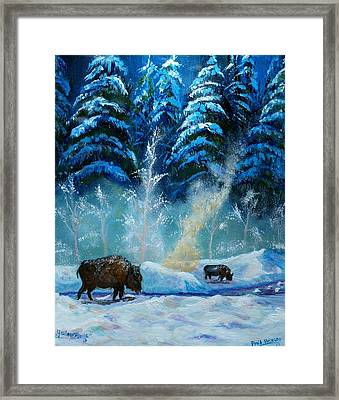 Geysers And Bison Framed Print