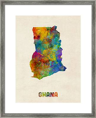 Ghana Watercolor Map Framed Print