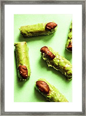 Ghastly Green Halloween Finger Food Framed Print