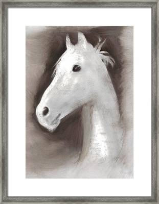 Framed Print featuring the painting Ghost Horse by FeatherStone Studio Julie A Miller