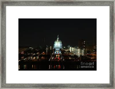 Ghost Lights Of Pa State Capital   # Framed Print