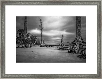 Ghosts Of Giants Above The Sand - Bw Framed Print