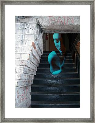 Ghost Of Pain - Self Portrait Framed Print by Jaeda DeWalt