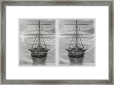 Ghost Ship - Gently Cross Your Eyes And Focus On The Middle Image Framed Print by Brian Wallace