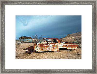 Framed Print featuring the photograph Ghost Town Old Car by Catherine Lau