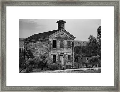 Ghost Town School House Black And White Framed Print