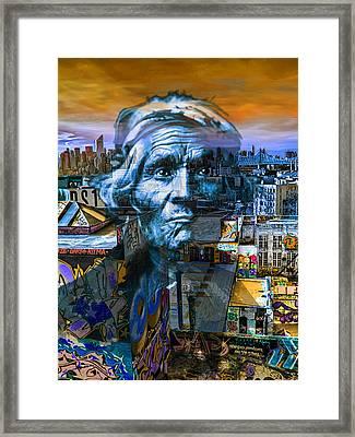 Ghost Tribe Native Americans In New York Blue Framed Print by Tony Rubino