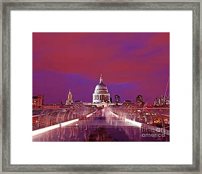 Ghostly Commuters Head To St Pauls On Millennium Bridge Framed Print by Chris Smith
