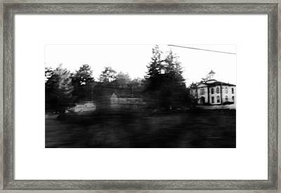 Ghostly Potter School House For Filming Movie The Birds By Alfred Hitchocck  Framed Print by Peggy Leyva Conley