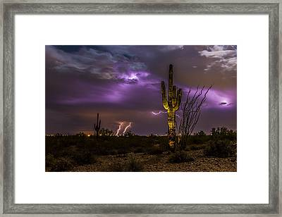 Ghostly Saguaro And Thunderstorm Framed Print by Chuck Brown