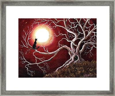 Ghostly Tree With Black Cat Framed Print by Laura Iverson
