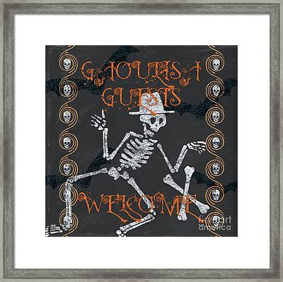 Ghoulish Guests Welcome Framed Print by Debbie DeWitt