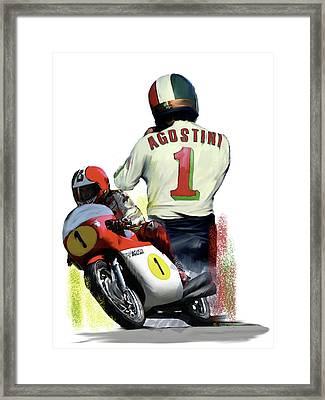 Giacomo Agostini  Ago Framed Print by Iconic Images Art Gallery David Pucciarelli