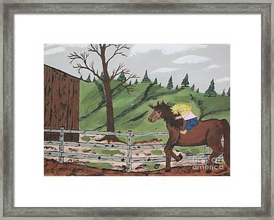 Gianna Riding  Bareback Framed Print by Jeffrey Koss