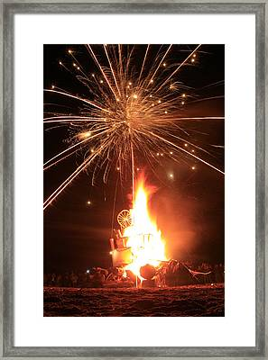 Giant Birthday Cake With Fireworks On Top Framed Print by Dave Brooksher