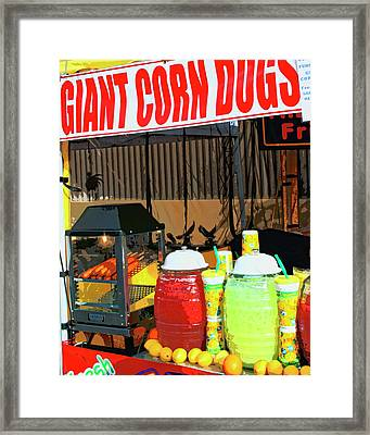 Giant Corn Dogs Framed Print by William Dey