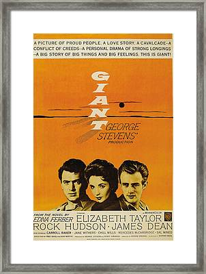 Giant, From Left Rock Hudson, Elizabeth Framed Print by Everett