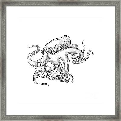 Giant Octopus Fighting Astronaut Tattoo Framed Print by Aloysius Patrimonio