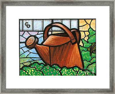Framed Print featuring the painting Giant Watering Can Staunton Landmark by Jim Harris