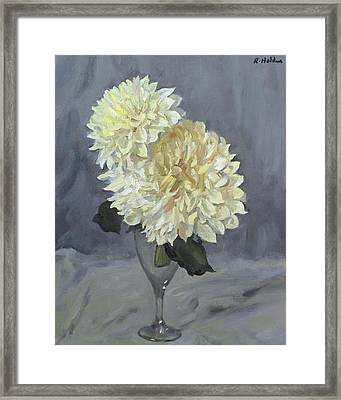 Giant White Dahlias In Wine Glass Framed Print