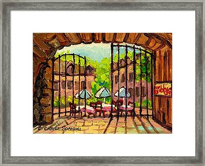 Gibbys Restaurant In Old Montreal Framed Print by Carole Spandau
