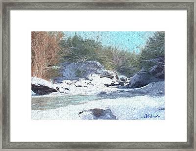 Framed Print featuring the digital art Gibou Falls by John Selmer Sr
