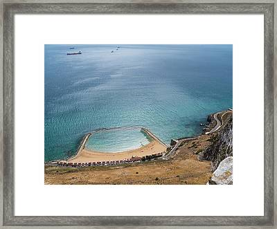 Gibraltar Rock View To The Beach Framed Print