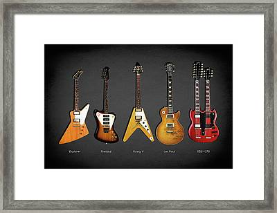 Gibson Electric Guitar Collection Framed Print by Mark Rogan