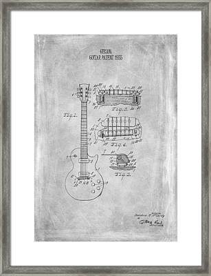 Gibson Guitar Patent From 1955 Framed Print by Mark Rogan