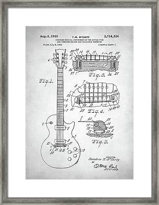 Framed Print featuring the digital art Gibson Les Paul Electric Guitar Patent by Taylan Apukovska