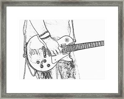Gibson Les Paul Guitar Sketch Framed Print by Randy Steele