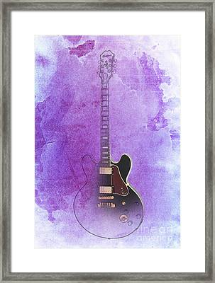 Gibson Lucille Guitar, Purple Background Framed Print by Pablo Franchi