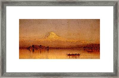 Gifford Sanford Robinson Mount Rainier Bay Of Tacoma Framed Print