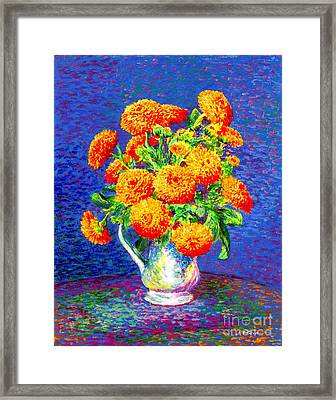 Gift Of Gold, Orange Flowers Framed Print by Jane Small